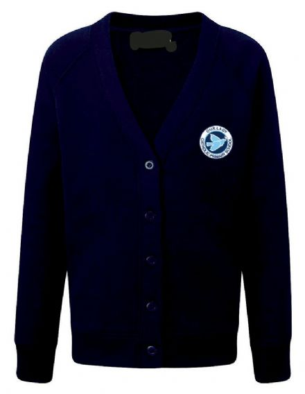 Our Lady Catholic Navy Cardigan